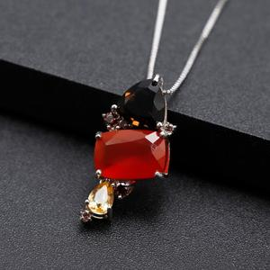 Image 2 - GEMS BALLET Natural Carnalian Gemstone Fine Jewelry 925 Sterling Silver Handmade Candy Red Agate Pendant Necklace For Women