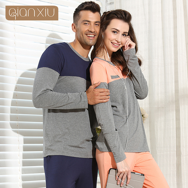 Qianxiu  Pajamas For Men  Modal Sleepwear Patchwork Men Pajama Set  Plus Size Lounge Wear