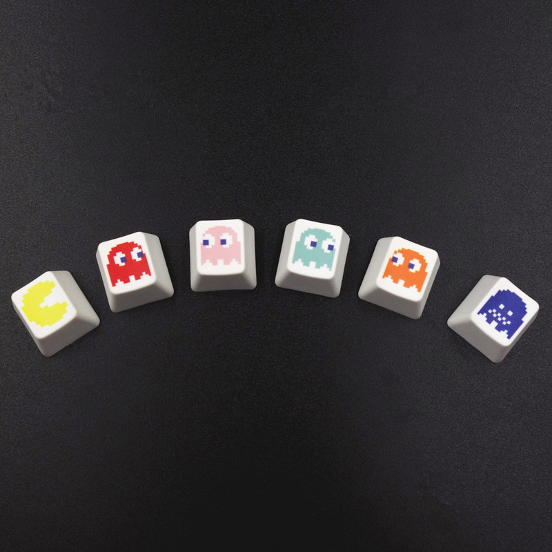 6pcs PBT Keycaps Pac-Man Patterns Combo Dye-Sublimation Cherry MX Key Caps For MX Switches Mechanical Gaming Keyboard