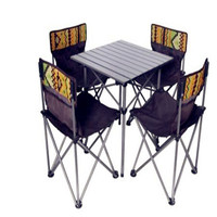 Outdoor aluminum folding table and chair set portable storage leisure table and chair combination equipment 5pcs/set