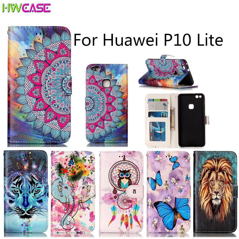 For Huawei P8 Lite 2017 P9 P10 Plus Case Stand Flip Wallet Purse Pouch Embossed Relief Oil Phone Cases Card Slots Photo Frame De