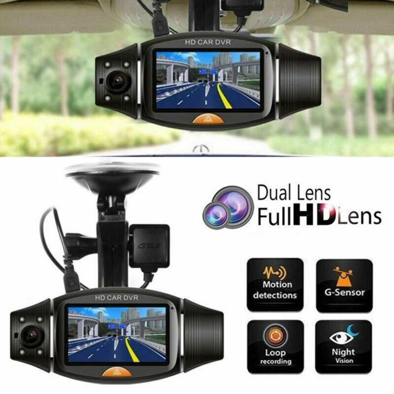 Double lentille GPS caméra HD voiture Dash Cam enregistreur vidéo g-sensor Vision nocturne