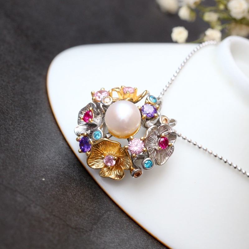 pavilion silver wholesale Handmade with natural pearl pendant Set color zircon flowers 925 sterling silver pendant
