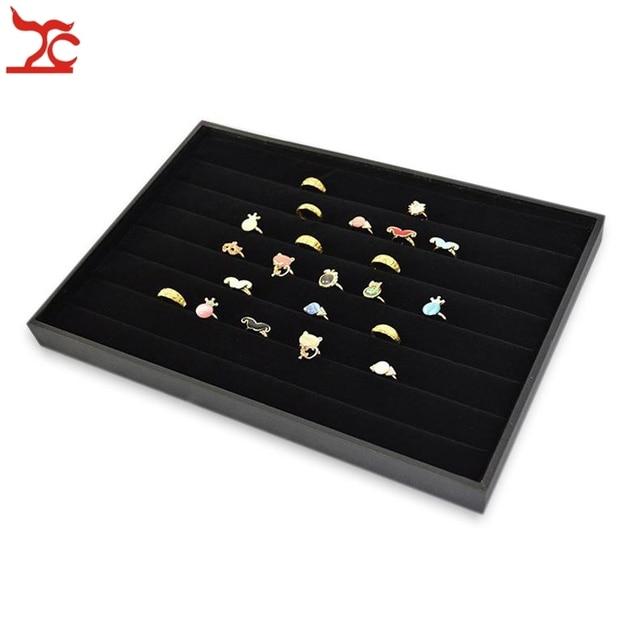 3pcs 14 Black Velvet Jewelry Display Tray Ring Cufflink Holder Case Nr Free Shipping