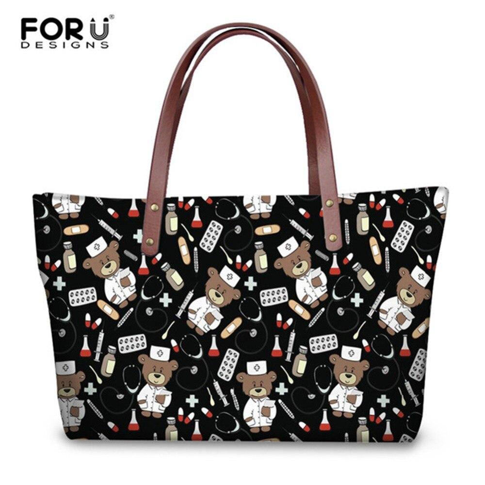 d289fd6570a2 FORUDESIGNS Cartoon Nurse Handbags for Women High Quality Tote Bag  Cross-body Bags Youth Girls