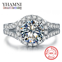 Promotion Real Solid 925 Silver Wedding Rings Women Jewelry 3 Carat Simulation Diamond Engagement Rings Accessories