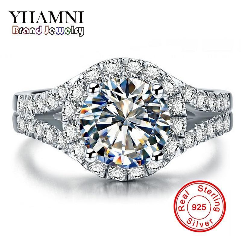 Promotion!!! réel Solide 925 Argent Anneaux De Mariage de Bijoux pour les Femmes 2 Carat Sona CZ Diamant Bagues de Fiançailles Accessoires BKJZ025