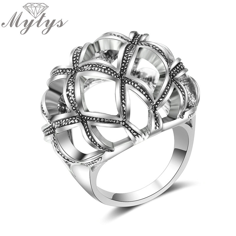 Mytys Retro Design Round Hollow Geometric Ball Ring for Women Antique Court Jewelry Palace Gift R1993 цены