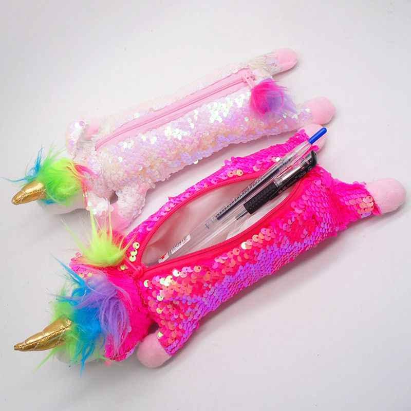 Двусторонние пайетки Единорог кавайный пенал плюш для девочки школьный пенал сумка Милая коробка для ручек и карандашей мешочек канцелярские принадлежности