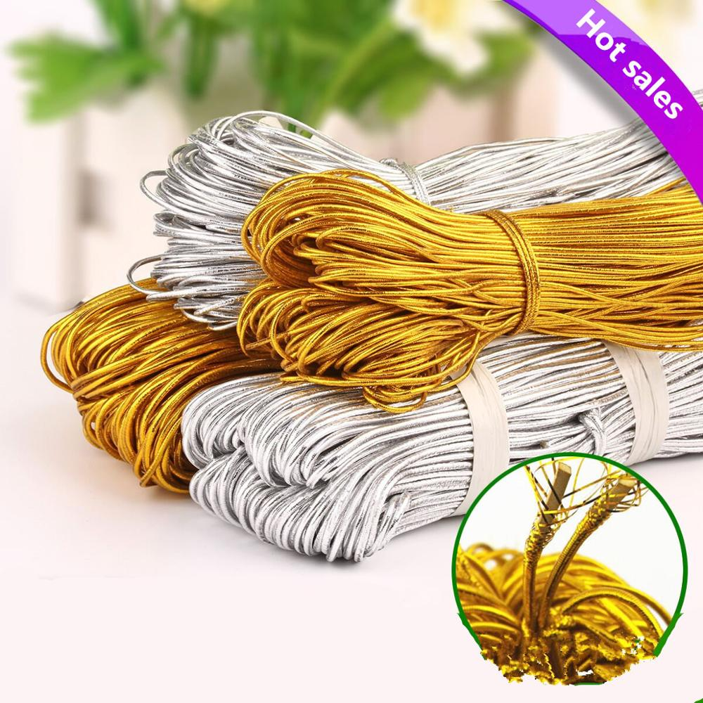 33meters/lot Gold/Silver Stretch Round(Dia.<font><b>2mm</b></font>) <font><b>elastic</b></font> band <font><b>Cord</b></font> rubber band nylon DIY garment sewing accessories image