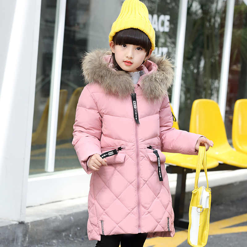 2017 Winter NEW Girls Long Thick Down Parkas Jacket Overcoat Fashion Fur Hooded Collar Anorak 5 Colors a15 girls down jacket 2017 new cold winter thick fur hooded long parkas big girl down jakcet coat teens outerwear overcoat 12 14