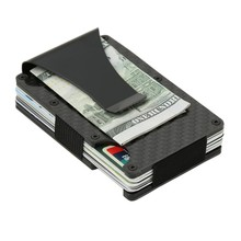 Fashion Slim Carbon Fiber Credit Card Holder With Clip Rfid Non-scan Metal Wallet Purse Male Card Storage Case(China)