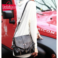 BVLRIGA Women Messenger bags fashion rivet punk style shoulder bag leather black mini bags designer brand small bag high quality