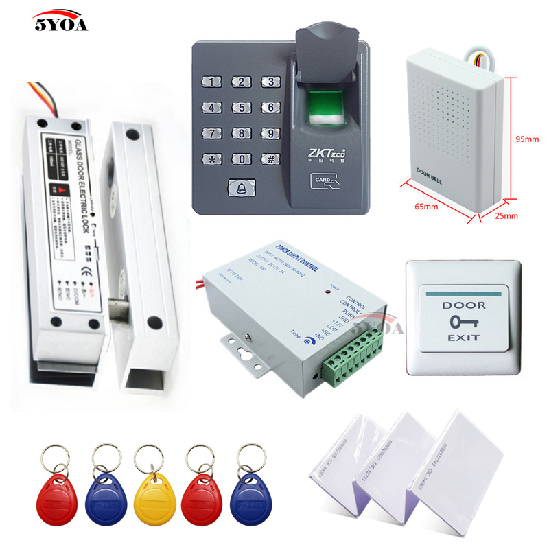 Fingerprint RFID Access Control System DIY Kit Glass Door Gate Opener Set Electronic Bolt Lock ID Card Power Supply Button Bell lpsecurity gate door electric magnetic lock drop bolt strike access control system power supply with box cabinet 12v 5a