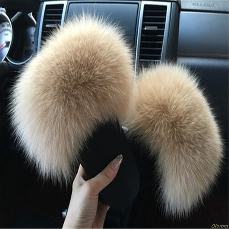 Fur Slippers Fluffy Sandals Fox-Hair Plush Winter Cute Women Ladies For Hot
