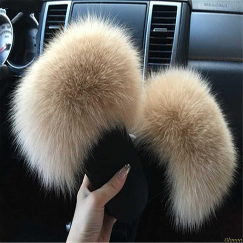 2020 Vrouwen Furry Slippers Dames Schoenen Schattige Pluche Vos Haar Pluizige Sandalen Vrouwen Bont Slippers Winter Warm Slippers Vrouwen hot
