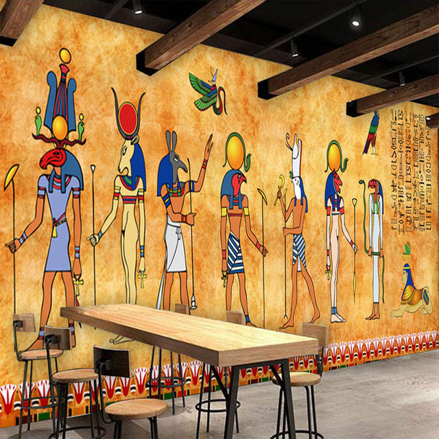 Custom 3d photo wallpaper vintage egyptian murals bar for Egyptian mural wallpaper