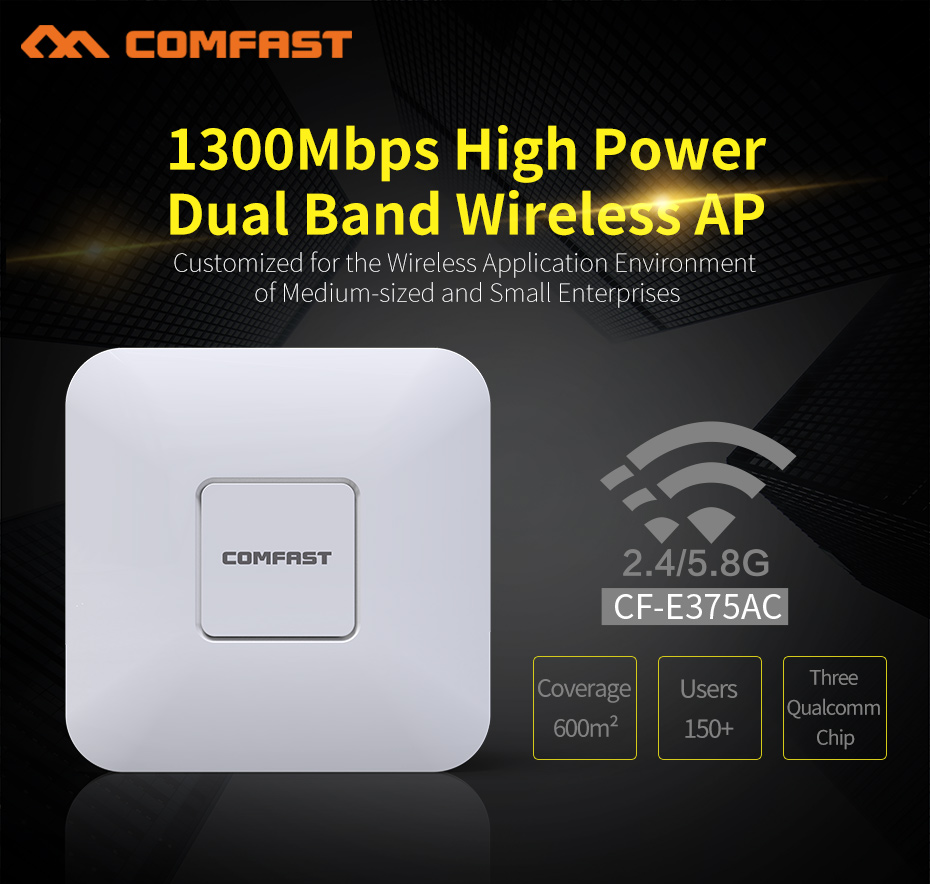 COMFAST Wireless AP 1300Mbps Ceiling Ap 802.11Ac 5.8G+2.4G Indoor Ap 48V Poe Power 16 Flash Gigabit RJ45 Port Wifi Access PointCOMFAST Wireless AP 1300Mbps Ceiling Ap 802.11Ac 5.8G+2.4G Indoor Ap 48V Poe Power 16 Flash Gigabit RJ45 Port Wifi Access Point