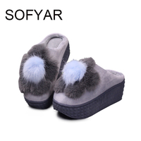 Plush Slippers Home FLOWER Warm Cartoon High Heel Cotton Slippers Lovely Winter Women Cute Keep Warm