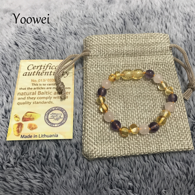 HTB1mYysndbJ8KJjy1zjq6yqapXaB Yoowei 9 Color Baby Amber Bracelet/Necklace Natural Amethyst Gems Adult Baby Teething Necklace Baltic Amber Jewelry Wholesale