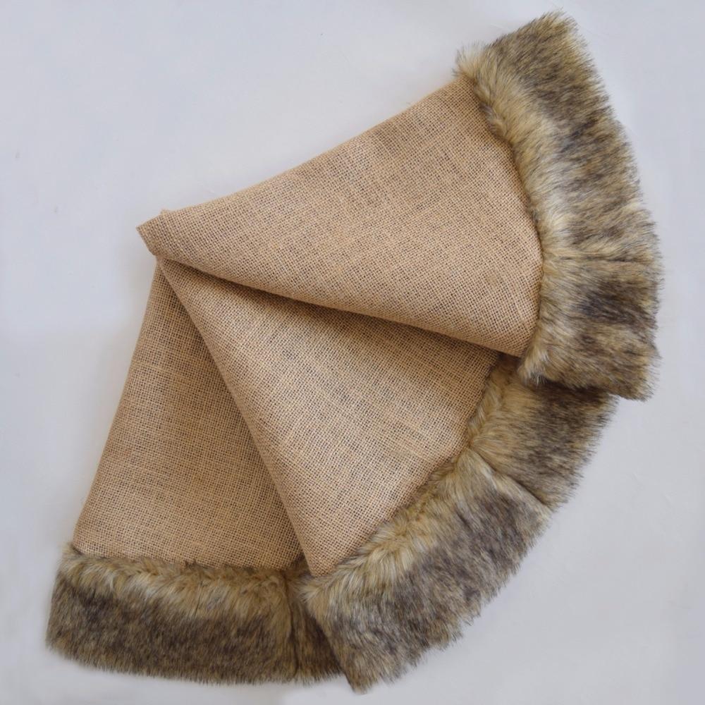 Linen Christmas Tree Skirt: Jute Burlap Christmas Tree Skirt Linen With Faux Fur