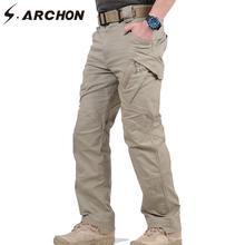 S ARCHON IX9 City wojskowe taktyczne spodnie w stylu Cargo mężczyźni SWAT bojowe spodnie wojskowe męskie dorywczo wiele kieszeni elastyczny bawełniany spodnie XXXL tanie tanio Cargo pants Mieszkanie NONE REGULAR 2 4 - 3 1 Pełnej długości W stylu Safari Midweight Suknem Zipper fly