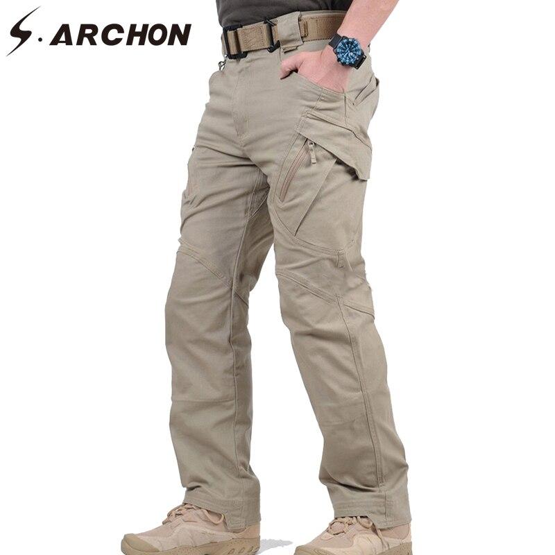 S ARCHON IX9 ciudad táctico militar pantalones de los hombres SWAT combate pantalones casuales de hombre muchos bolsillos de algodón elástico pantalones XXXL