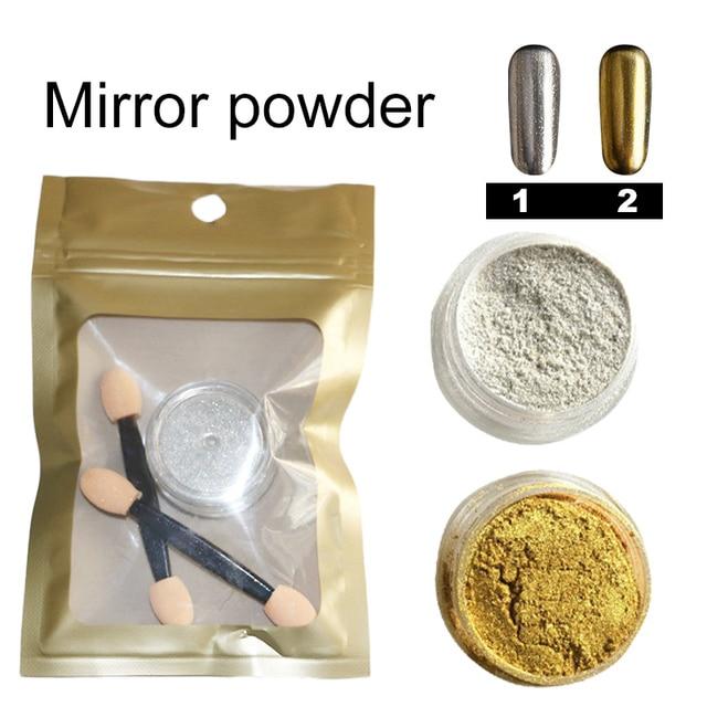 Brillo espejo Polvos de maquillaje oro plata pigmento cromo efecto ...