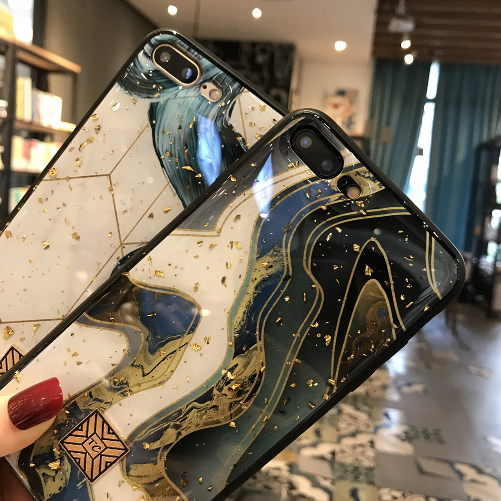 Gold Foil Marble Bling Phone Case For iPhone X XS Max XR Soft TPU Granite Geometry Cover For iPhone 7 8 6 6s Plus Glitter Case (5)