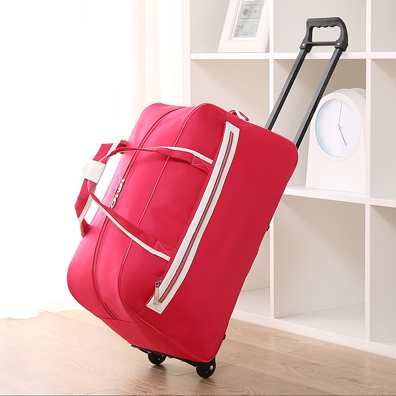 Women large capacity travel luggage bags on wheels,black/navy blue/hot pink/red trolley luggage bags with rod