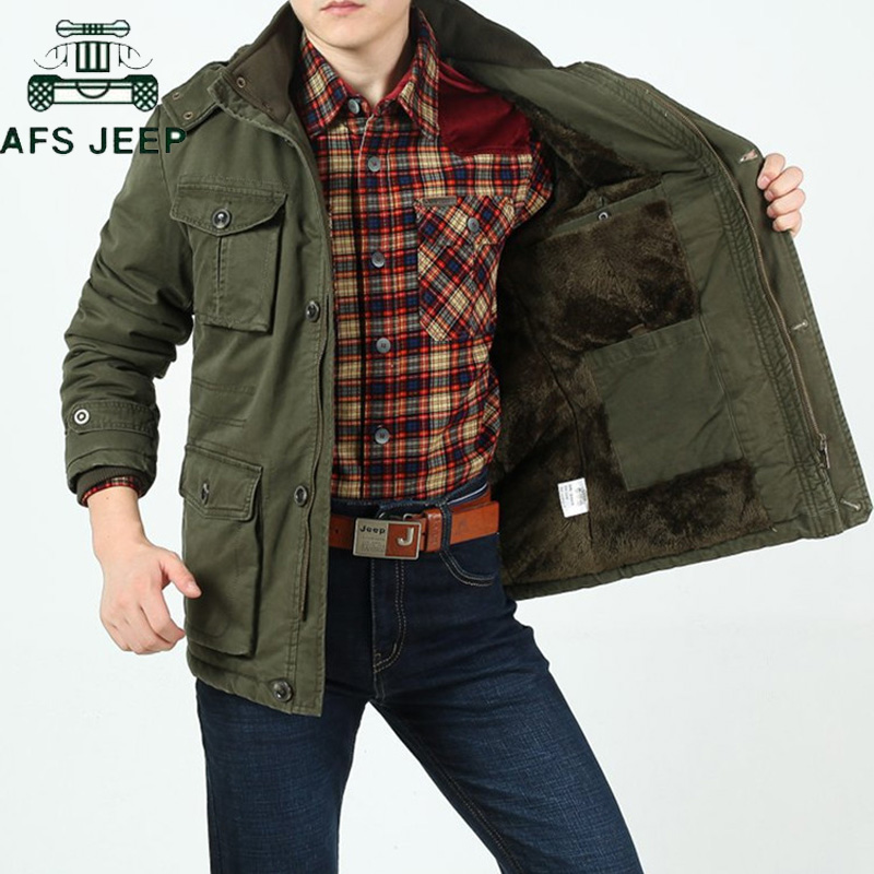 AFS JEEP Brand Thick Winter Parkas men Plus Size L-9XL Cotton Warm Military Winter jacket men Casual Multi-Pocket Parkas Hombre(China)