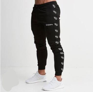 Fall Winter Warm Male Lettering Zipper for Fitness Leisure Foot Trousers Elastic Cultivate one's Morality Printed Slim Pants