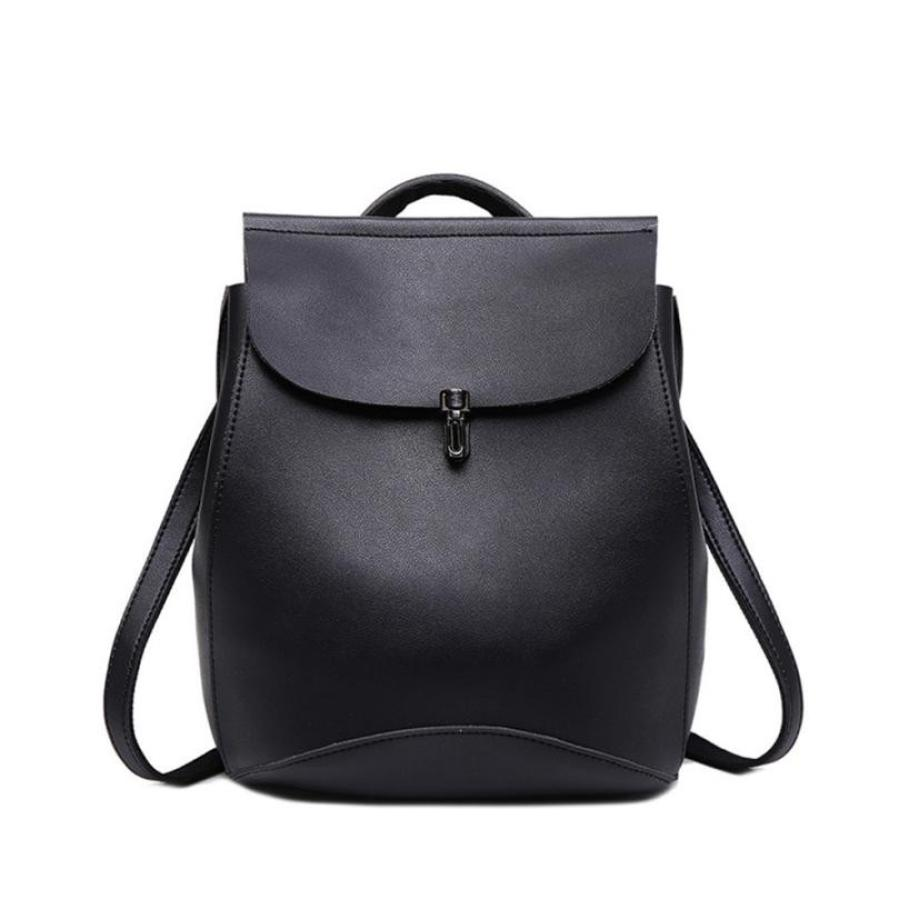 Women PU Leather Black Backpacks Shoulder Travel Rucksacks Zipper Student School Daypacks High Quality Backpacks Fashion-12 ...