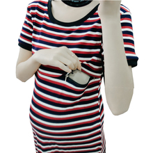 Top Maternity-Clothing Short-Sleeve Breastfeeding-Dress Summer Wine Cotton Knee-Length