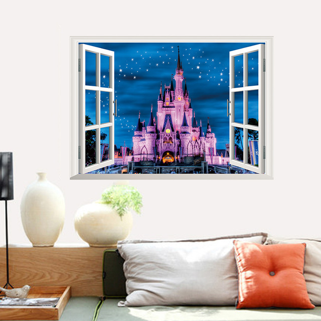 1361378a1 3D False Window Decor Castle Tower Wall Stickers Drawing Room Bedroom Home  Decor DIY Scenery Poster