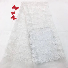 2019 New Design African lace fabric High Quality White color French mesh for Wedding dress HX1140-1