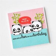 YaMinSanNiO Animal Clear Stamp with Die Cutting Cute Panda Metal DIY Decorative Emboss Scrapbooking Craft Card Stencil Template