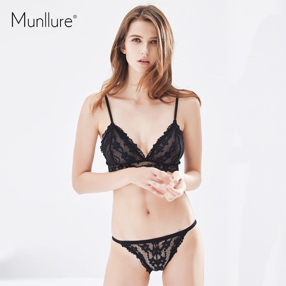 a74a8bbc88 Munllure Triangle cup bra set bralette ultra thin pink fresh flowers lace  breathable underwear women bra set-in Bra   Brief Sets from Underwear    Sleepwears ...