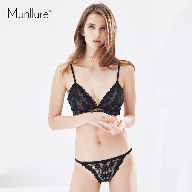 22f7a0051b Munllure Triangle cup bra set bralette ultra-thin pink fresh flowers lace  breathable underwear women