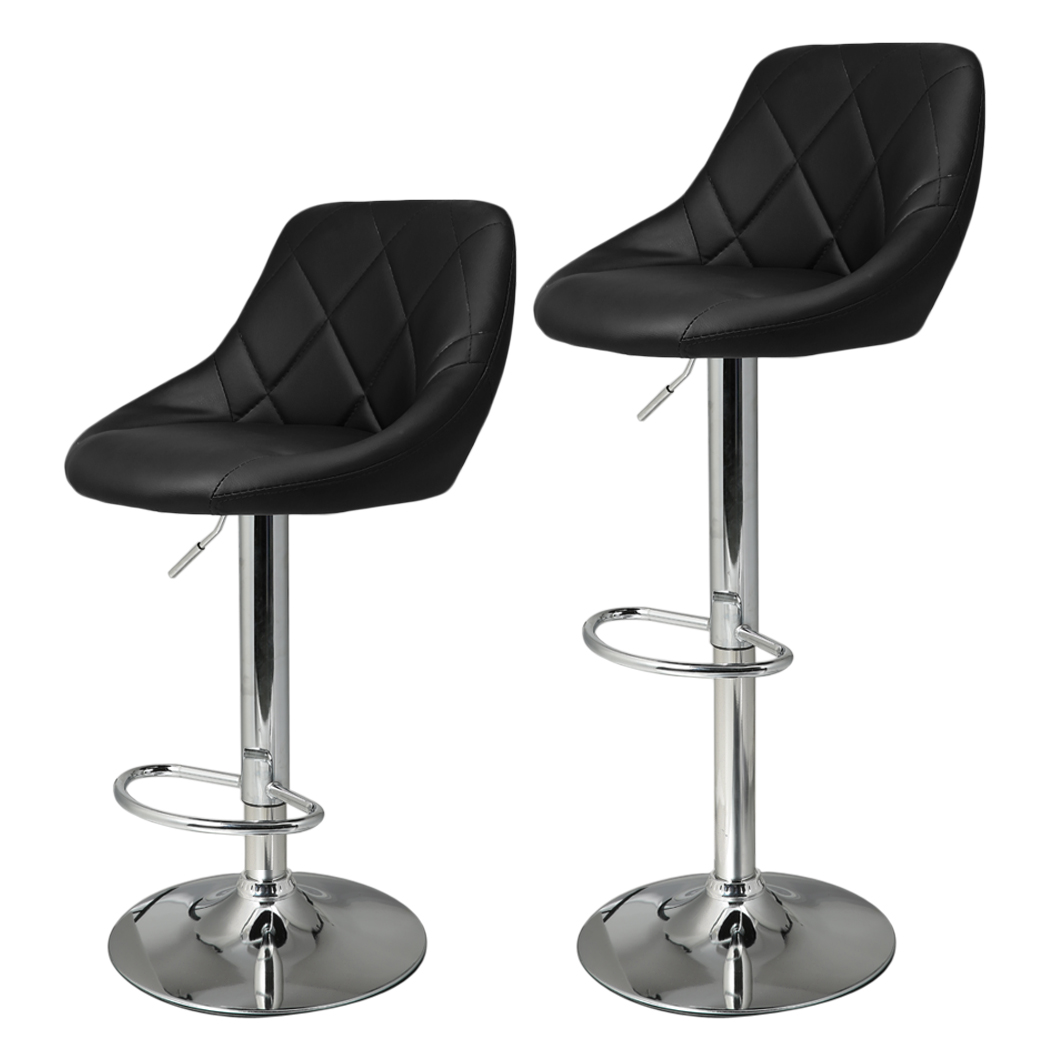 Homdox 2pcs Synthetic Adjustable Swivel Bar Stool Stainless Steel