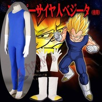 Athemis Dragon Ball Z Vegeta II Cosplay Costume Sleeveless Sportswear Blue Tight fitting Clothes with Leather Gloves and Shoes