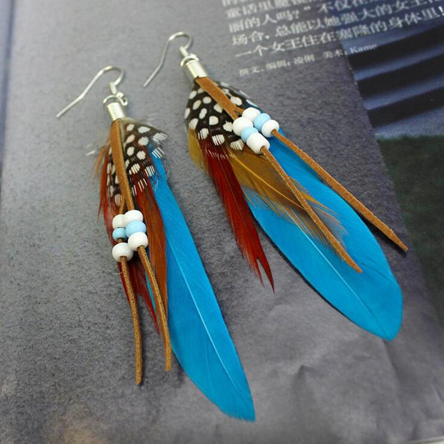 Vintage Bohemian Beads Tassel Feather Earrings Lady Women Dress Party Christmas Halloween Navidad