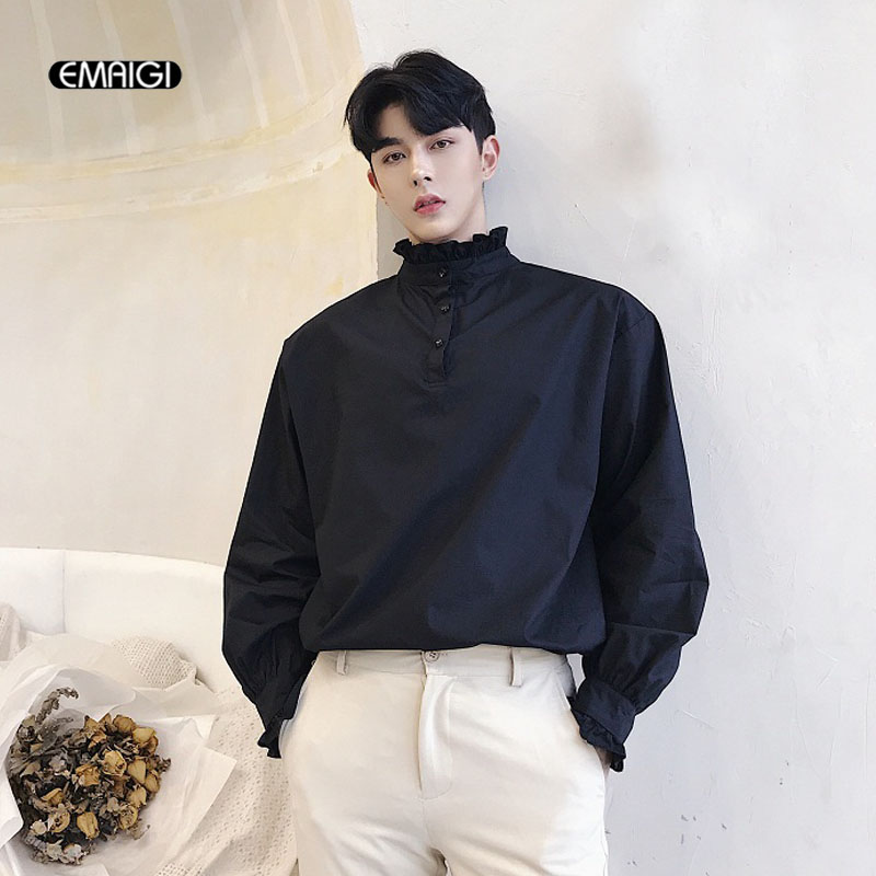 Wear Front Back Shirt Men Retro Fashion Long Sleeve Casual Stand Collar Pullover Shirts Male Solid Loose Party Dress Shirts