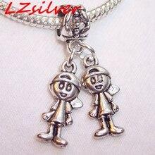 MIC   5 pcs Antique Silver  Little Boys Brothers Twins Babies Dangle Bead for Silver European Charm Bracelet 29 x 15mm  za305 цена и фото
