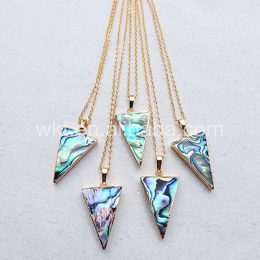WT N660 Raw abalone shell necklace nice quality wkt new models abalone shell jewelry necklace triangle