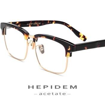1f6862af3b Acetato de gafas de marco de Metal para los hombres Plaza 2018 mujeres Semi  montura anteojos recetados medio marco óptico de Nerd espectáculo gafas