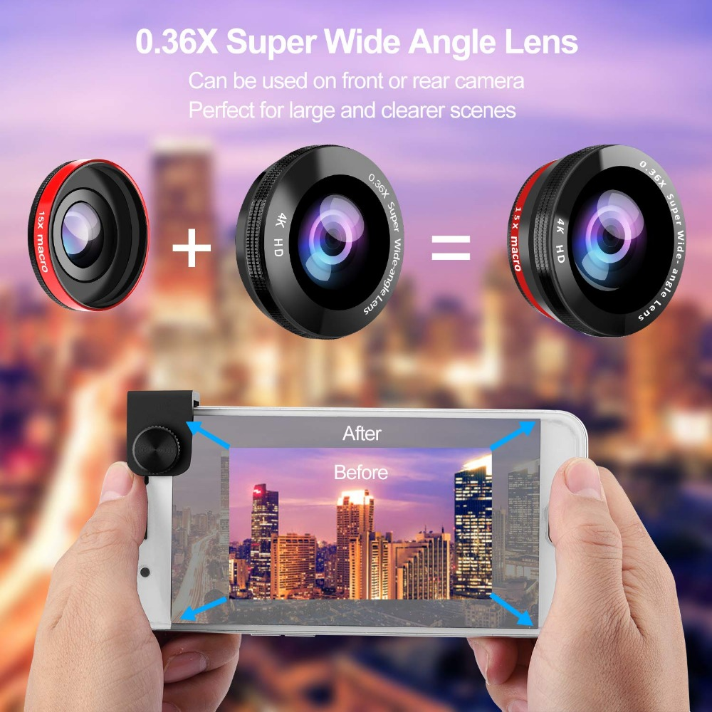 Phone Camera Lens, 5 in 1 iPhone Zoom Lens Kit 15X Telephoto Lens + Wide Angle + Fisheye + Macro Lens (2 Lens) Compatible With iPhone Samsung Android And Most Smartphones 3