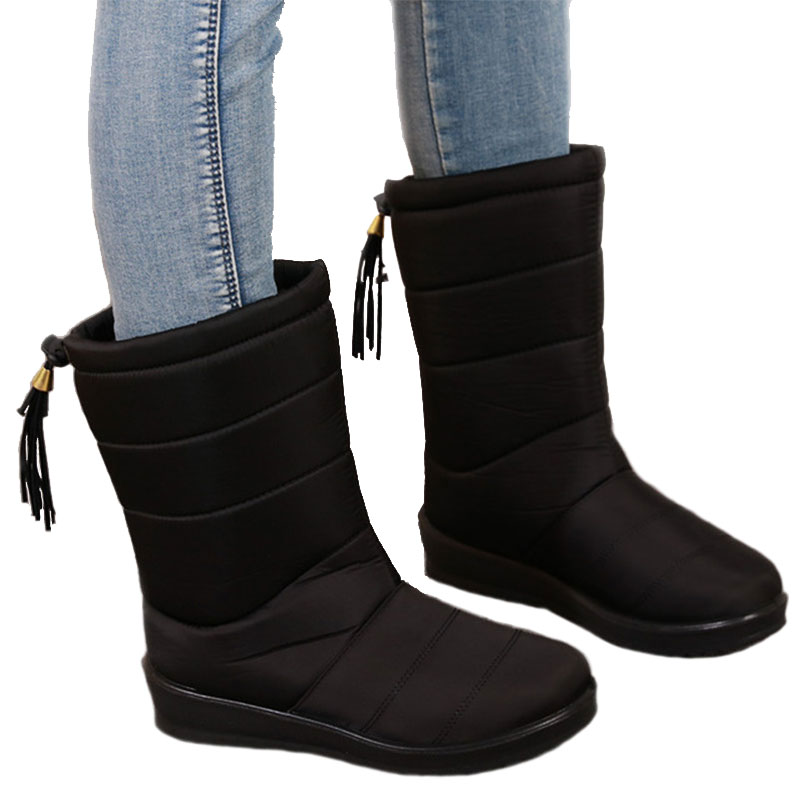Fashion Women Winter Boots Female Waterproof Down Snow High Boots Girls Fringe Plush Insole Botas women winter over the knee high boots ladies platform fringe snow boots waterproof down thick plush female shoes botas