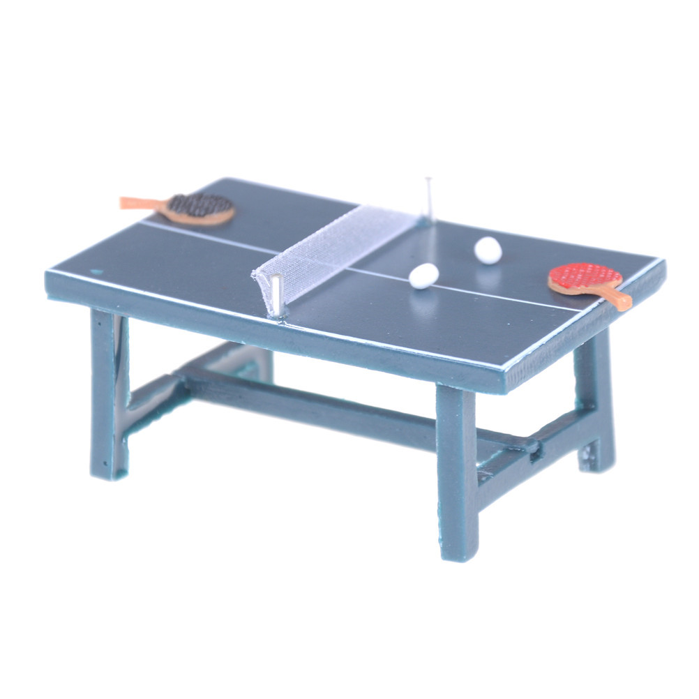 New 1/12 Dollhouse Miniatures Furniture Tennis Table Bat And Balls Full Set Doll House Decor Toy For Children Dolls Accessories