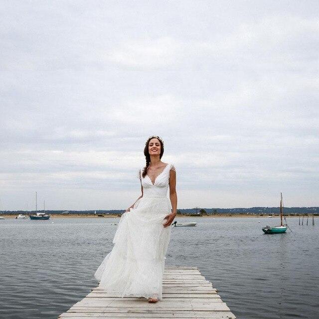 2017 A Line Beach Wedding Dresses Deep V Neck Cap Sleeve Tiered Lace vestidos de noiva Open Back Bride Gown Boho Bridal Gown